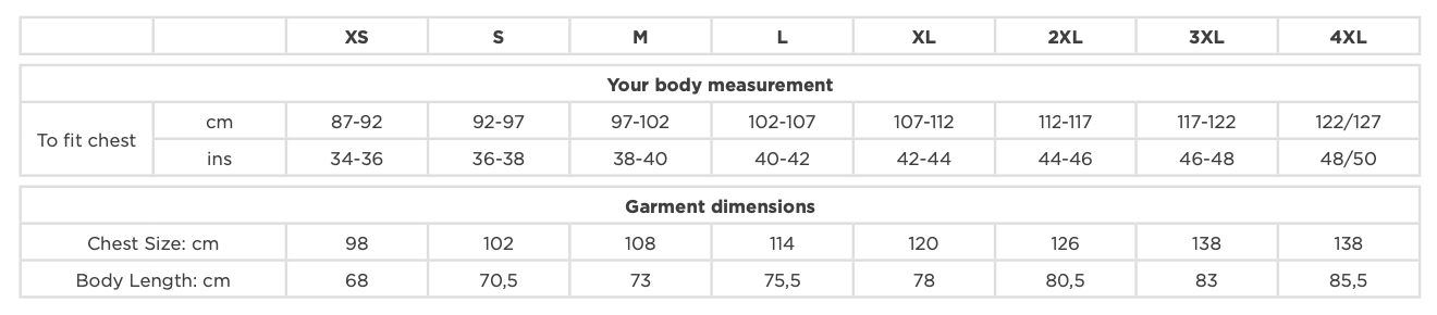 Russell Athletic T-Shirt Sizes